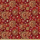 ABAKUHAUS Red Mandala Stoff als Meterware, Weihnachts Flora