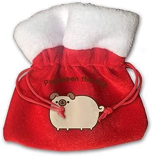 Pugsheen The Dog Velvet Drawstring Christmas Red Gift Bags with White Plush Trim