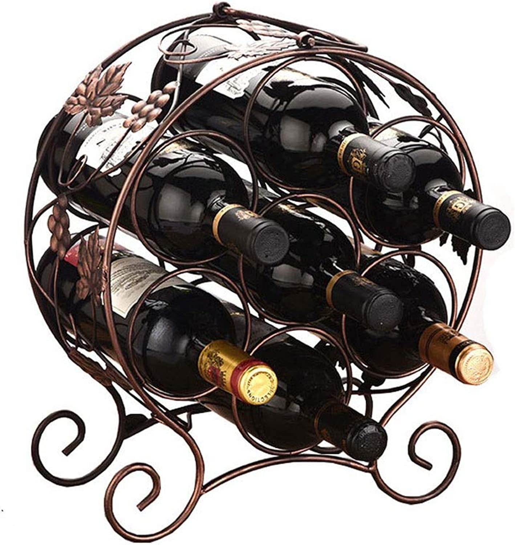 Creative Wine Rack Multi-Bottle Bottle Rack European Fashion Wine Rack Wrought Iron Ornaments Fashion Home (color   Bronze, Size   14  28  35.5CM)