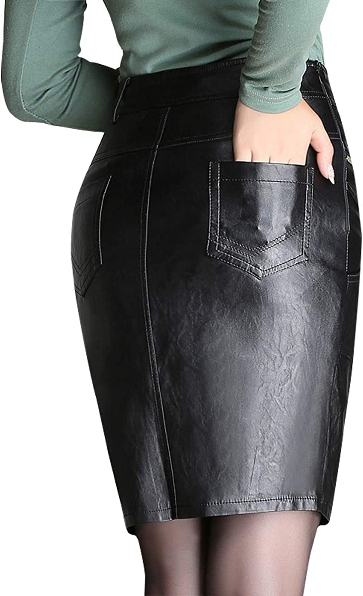 Wincolor Women's Faux Leather PU Mini Office Business Pencil Skirts High Waisted OL Sheath Skirt Wear to Work