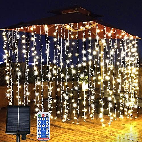 LiyuanQ Solar Curtain Lights, Garden Fairy Lights 300 LED 8 Modes Remote Control Waterproof Solar Waterfall Fairy String Lights Decoration for Patio, Garden, Party, Wedding, Birthday, Festival (Warm)