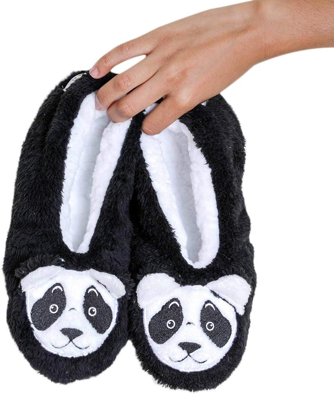 Faceplant Dreams Bearly Awake  Black and white Panda Bear Slipper Footsies