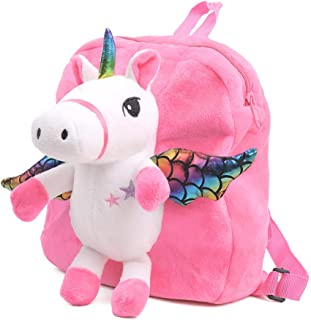 Unicorn Backpack for Kids, Cute Toddler Backpack Snack Travel Bag Preschool Shoulder Bag Stuffed Doll Toy Gift for 1 2 3 4 5 Year Old Girls (Pink)