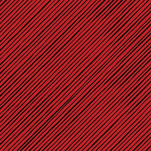 Loralie Designs - Quirky Bias Stripe Red / Black Fabric by the Yard for Sewing - Loralie's Stripe Fabric Collection - red and black stripe fabric - 100% Cotton / Washable | 100% Cotton |Holiday, Winter and Christmas Fabric | Washable and Reusable