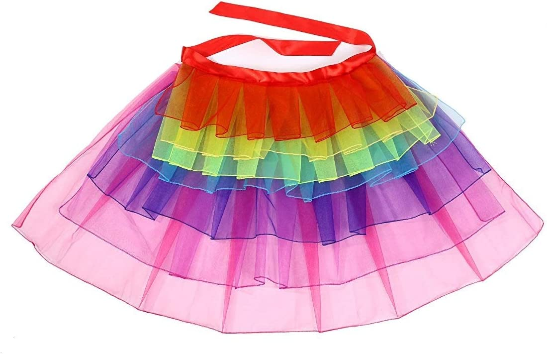 SATINIOR Lingerie Bubble Skirt Women's Layered Tulle Dancing Bustle Skirt, Rainbow, One Size : Clothing, Shoes & Jewelry