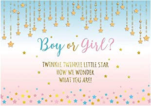 Funnytree 7X5ft Pink and Blue Gender Reveal Party Backdrop Boy Or Girl Twinkle Twinkle Little Star Photography Background Gender Surprise Photo Banner for Baby Shower Photobooth Cake Table Decoration