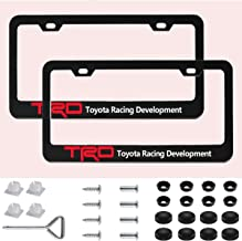 Sparkle-um 2 Pack Newest TRD Logo Matte Aluminum Alloy License Plate Frame,with Screw Caps Cover Set Suit,Applicable to US Standard car License Frame, for Toyato TRD.
