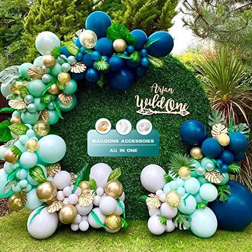 Jungle Safari Theme Suministros Para Fiestas Kit De Guirnaldas De Globos, Globos Azul, Verde, Blanco, Oro, Globos De La Selva Con Hojas Para Baby Shower, Boda, Cumpleaños,Aniversario