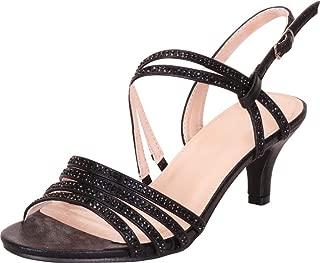 Women's Open Toe Strappy Crystal Rhinestone Mid Kitten Heel Sandal