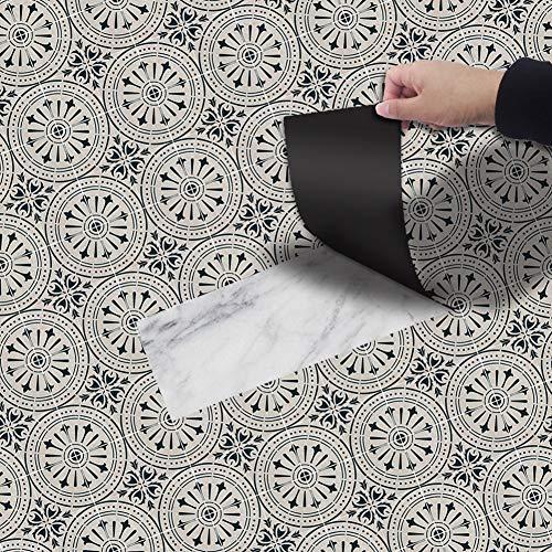 Kuke Bodenaufkleber Selbstklebend 20x300 cm, Muster Stil Bodenfliesen Fliesenaufkleber Wasserdichte Anti-Rutsch Fliesensticker für Küchenboden Bad Wohnzimmer Balkon (NO2)