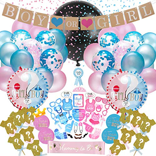 Dsaren 102 Pezzi Gender Reveal Party Baby Shower Decorazioni con Boy or Girl Banner Palloncini Blu Rosa Coriandoli Foto Props Cupcake Toppers Palloncino Foil Baby Gender Reveal Palloncino Kit