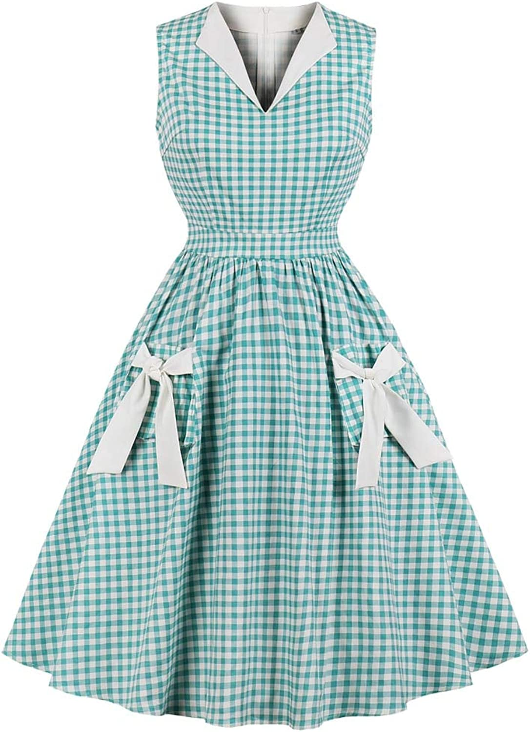 FUZHUANGHM Elegant Party Vintage Dress Plaid Check Print Bowknot Pockets Retro Dress