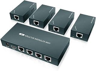 AAO 1x4 HDMI Extender Splitter, Support UHD 1080P@60Hz & 3D Visual, 4 Channel Transmit 165ft (50m) Over CAT5e/CAT6/CAT7