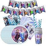Gxhong Vajilla de cumpleaños de niños,52pcs fiesta frozen Decoración Fiesta de cumpleaños Vajilla Frozen Juego de fiesta de cumpleaños Vajilla de Fiesta de Tema de Frozen, Platos, Taza, Servilletas
