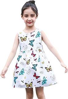 SMILING PINKER Little Girls Dresses Swing Summer Cotton Sleeveless Butterfly