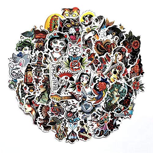 Tattoo Stijl Sticker Koelkast Skateboard Trolley Case Stickers Rugzak Tafels Waterdichte Pvc Sticker 50 stks/partij