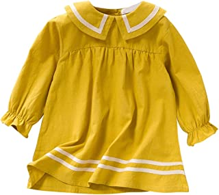 MomentDAY Toddler Children Baby Kids Girls Striped Ruched Dress Long Sleeve Lapel Preppy Style Casual Clothes Skirt(3Y-8Y)