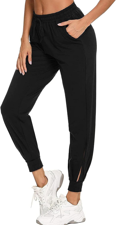 Jumaocio Women Sports Pants Solid Color Straight Elastic Waist Trousers (Black-3, XL)