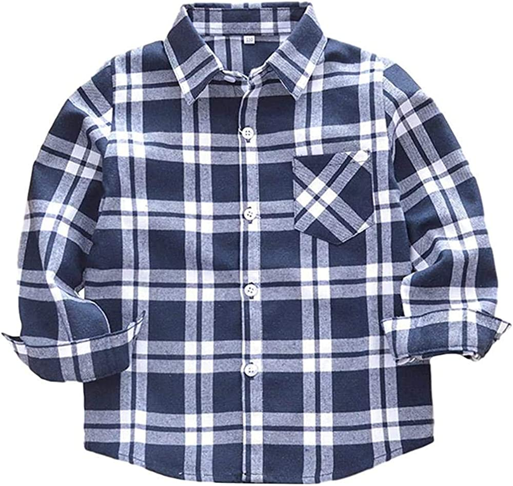Toddler Little Boys Girls Clothes Long Sleeve Button Down Red Plaid Flannel Shirt