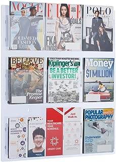 AdirOffice Hanging Magazine Rack with Clear Acrylic Adjustable Pockets, 29