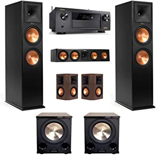 KLIPSCH RP-280FA 5.2.2 Dolby Atmos Home Theater System with DENON AVR-X4400H Receiver and Walnut SURROUNDS