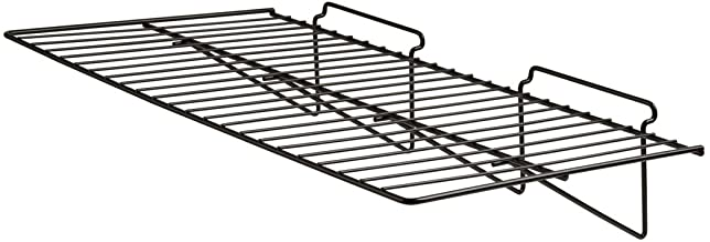 "Econoco - Black Straight Shelf, Heavy Duty Semi Gloss Metal for Slatwall, 24"" L x 12"" D (Pack of 6)"