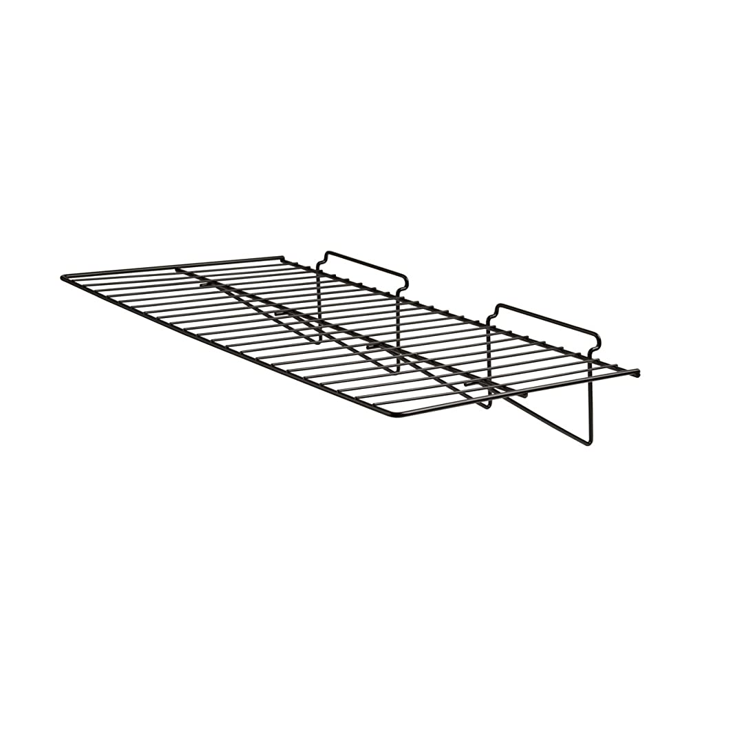 "Econoco - Black Straight Shelf, Heavy Duty Semi Gloss Metal for Slatwall, 24"" L x 12"" D (Pack of 6)"