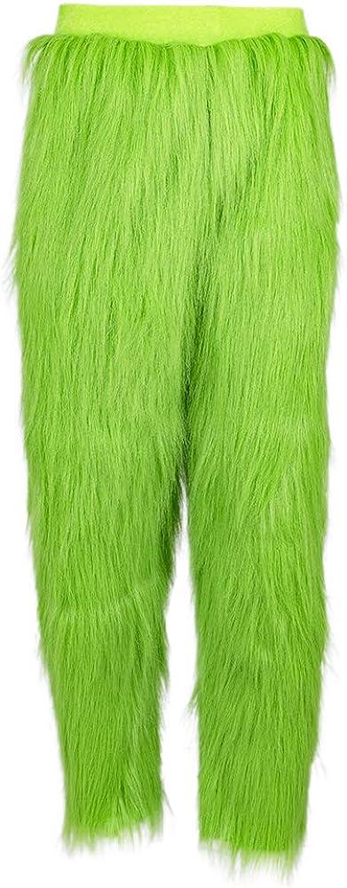 LILLIWEEN Green Pants Long Trousers Bottoms with Fur Winter Warm Fuzzy Pajama Xmas Halloween Pants