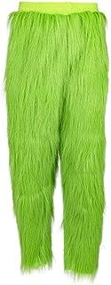 Green Pants Green Bottoms with Fur Long Trousers Warm Fuzzy Pajama Sleep Pants