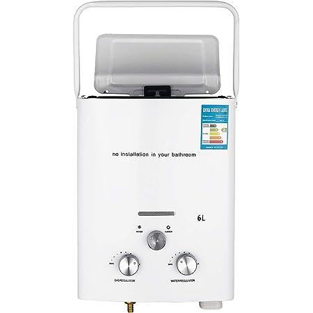 Bisujerro 6L Calentador de Agua Portátil LPG Calentador de Agua sin Tanque 12kw Calentador de Agua Eléctrico Calentador de Agua Instantáneo de Gas ...