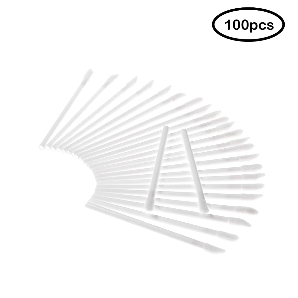 葉を集めるバスルーム脅威Deksias 100Pcsリップブラシ 口紅 使い捨て メイクブラシ 化粧用品 携帯用 便 利 メイクブラシ (白色)