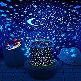 Lámpara Proyector Infantil Estrellas, LED de Luz Nocturna 360 Grado Giratorio,3 Niveles de Brillo 6 Colors Regulable Combinaciones Para Cumpleaños,Navidad, Cuarto de Los Niños, Boda