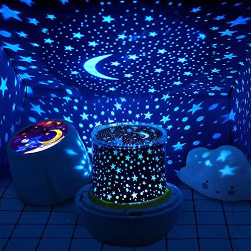 Proiettore Bambini, Lampada Proiettore Stelle,5W Doppia Alimentazione Rotazione a 360 Gradi Illuminazione a 6 Colori Luminosità regolabile, Adatto per neonati, Feste, Compleanni e Natale