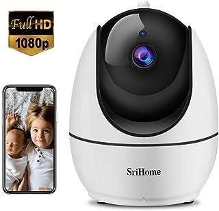 Srihome - Cámara de vigilancia WiFi Interior 1080P WiFi inalámbrica cámara Domo WiFi visión Nocturna Alerta de detección de Movimiento Audio bidireccional para casa/bebé/Animales de compañía