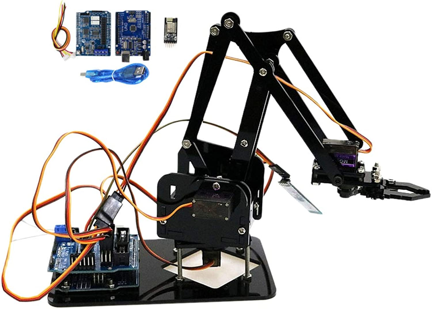 MagiDeal WiFi Control Kit Hot Smart Robot Acrylic 4 Degree of Freedom Mechanical Arm Kits Students Study
