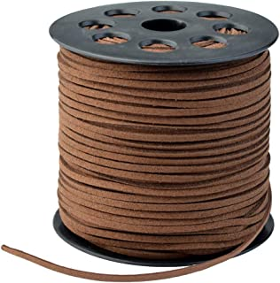 Wobe 100 Yards Suede Cord, Leather Cord 2.6mm x 1.5mm Suede String Lace Faux Leather Cord with Roll Spool for Bracelet Nec...