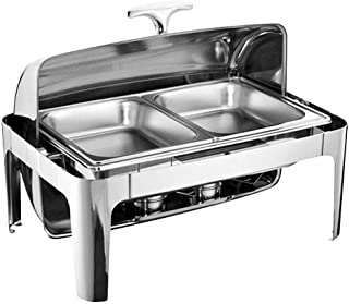 OUBAYLEW Chafing Dish Chauffe-Plat en Acier Inoxydable 9 litres Plat-réchaud Set Professionnel Buffets Chauffants pour Res...