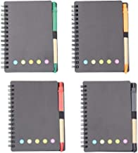 4 Pack Spiral Notebook Kraft Paper Notepad with Pen in Holder and Sticky Notes, Page Marker Colored Index Tabs Flags (Black)