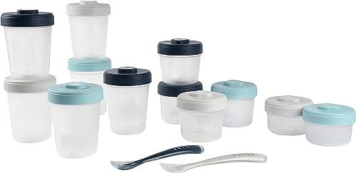 BÉABA, Lot de 12 Portions Conservation et 2 Cuillères Silicone, Clip, Pots empilables et emboîtables, 100% hermétique...