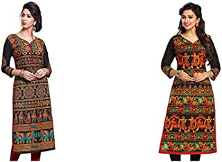 Jevi Prints Women's Dress Material (Pack of 2)(Saheli-1632&Saheli-1505_Item 1 Color Black|Item 2 Color 0_Free Size)