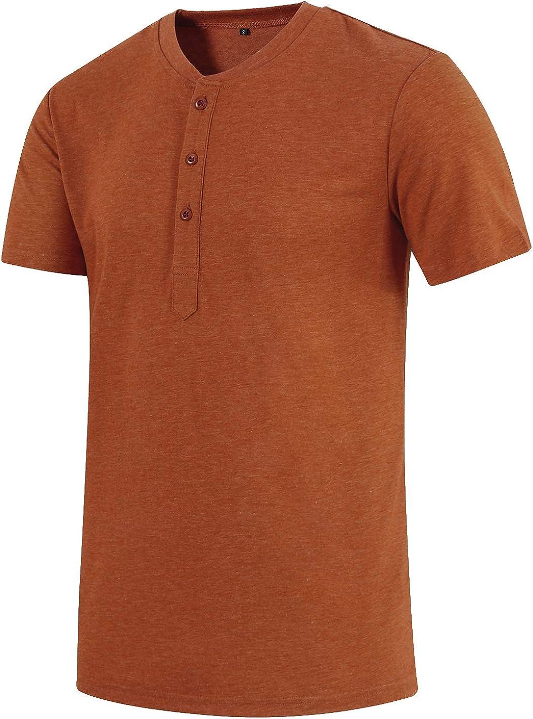 Satankud Mens Shirts Short/Long Sleeve Casual Loose Fit Henley Shirts Cotton T-Shirt