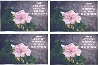 InterestPrint Love Quote With Pink Flower Ours Is My Favorite Washable Fabric Placemats Set of 4 Heat Resistant Dining Table Mats Non-slip Washable Place Mats, 12 x 18 Inches