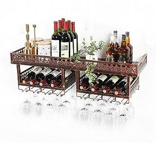 Organisation de rangement de la cuisine Casiers à vin muraux vintage Support mural en fer en métal Porte-bouteille de vin ...