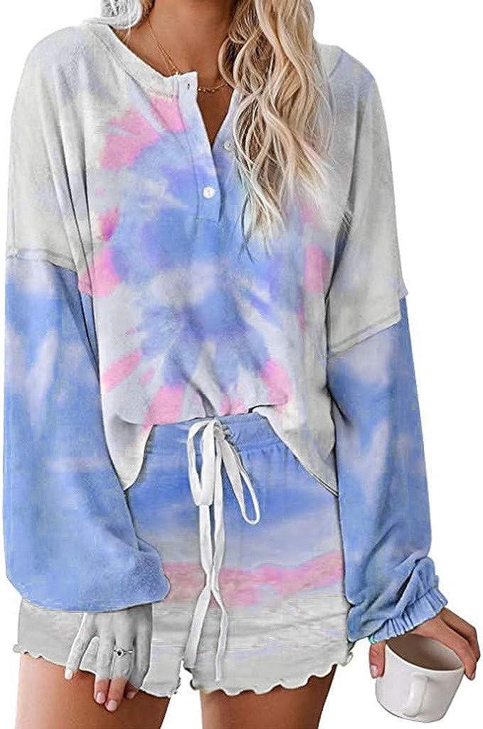 Pajama Set for Women,Womens Long Sleeve Sof 2 Piece Short Tie Dye Pajamas Set Nightwear Sleepwear Loungewear PJ Set