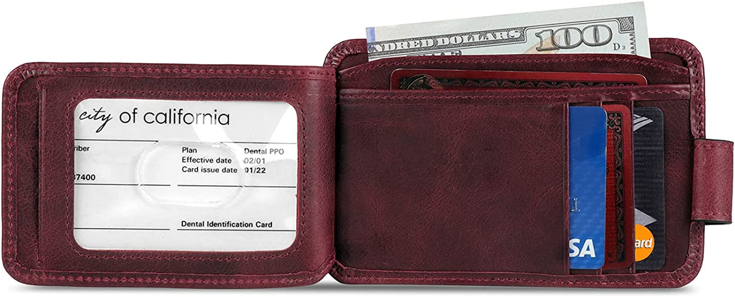 Otto Angelino RFID Blocking Minimalist Men's Wallet - Slim, Italian Leather Credit Card Holder and Zippered Coin Slot