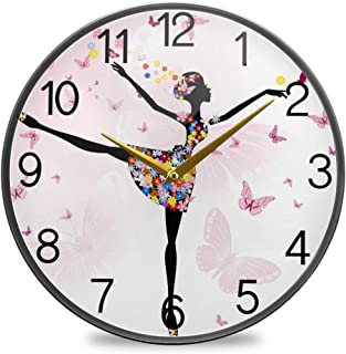Chovy 掛け時計 サイレント 連続秒針 壁掛け時計 インテリア 置き時計 北欧 おしゃれ かわいい バレエ 蝶 蝶柄 ピンク かわいい 可愛い 部屋装飾 子供部屋 プレゼント