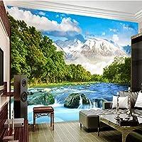 ranyan 3D高原雪山水風景写真壁紙3Dリビングルームテレビ背景壁の装飾3D壁画-150x120cm