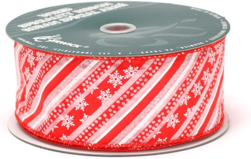 Amazon Com Berwick 2 1 2 Inch Wide By 50 Yard Spool Wired Edge North Pole Craft Ribbon Red