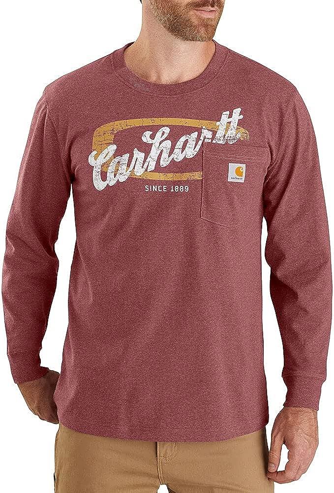 Carhartt Men's 104435 Heavyweight Script Graphic Long Sleeve Pocket T-Shirt
