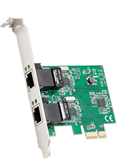 Syba Dual Port Gigabit Ethernet PCI Express 2.1 PCI-E x1 Network Adapter Card (NIC) 10/100/1000 Mbps Card with Realtek RTL8111 Chipset